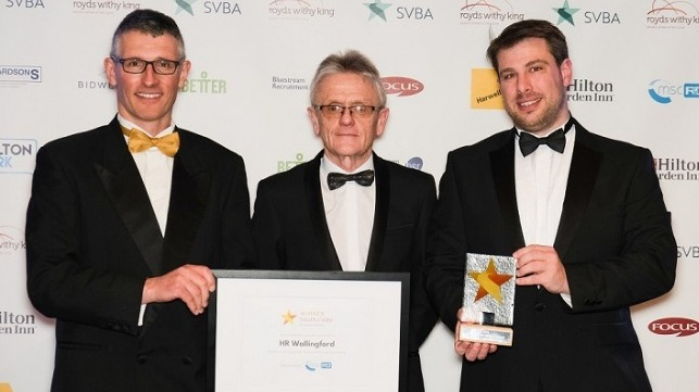 Simon Tiedeman, Business Manager (left) and Peter Watchorn, Senior Surveyor (right) receive the award from Iain Gray, Business and Growth Partnership Manager at MSC R&D. Picture: Sam & Steve Photography