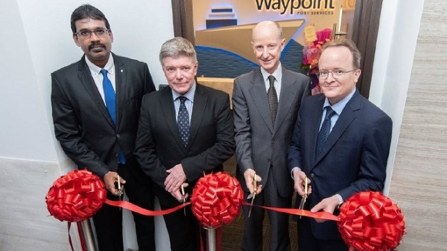 (From L) Velu Ramoo, Country Manager, Waypoint Port Services Singapore; David Furnival, COO, Bernhard Schulte Shipmanagement; Ian Beveridge, Chief Executive Officer, Schulte Group; Tobias Pinker, Chief Financial Officer, Bernhard Schulte.