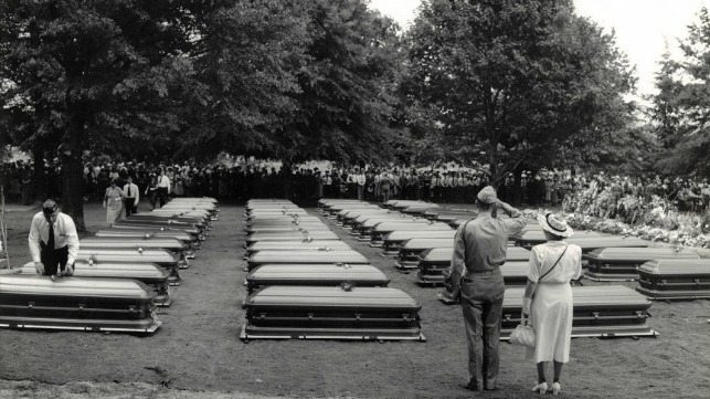 USS Serpens crew?s caskets arrive at Arlington National Cemetery from Guadalcanal in 1949. U.S. Coast Guard photo.