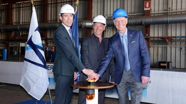 L-R: Fincantieri's Vice President of Ship Repair and Conversions Andrew Toso, Shipyard Director Gianni Salvagno and Windstar Cruises' Vice President of Expansion Projects John Gunner.