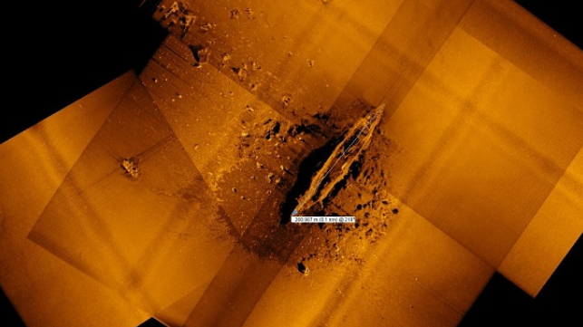 "Sonar image of the Japanese aircraft carrier Akagi, 17,000+ feet under the ocean's surface, captured by REMUS 6000 on board the RV Petrel (""Maritime Executive"", 2019)."