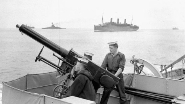 December 10, 1939 - HMC Ships Ottawa, Restigouche, Fraser and St Laurent escort first Canadian Troop Convoy of Second World War. Source: Royal Canadian Navy