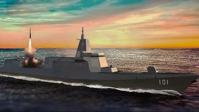 artist impression of a Chinese destroyer