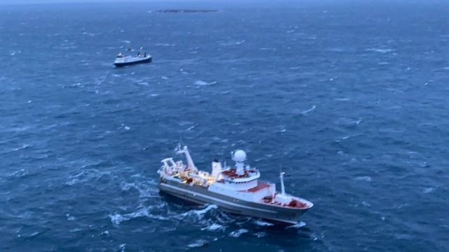 stranded ferry and passengers rescued off Iceland