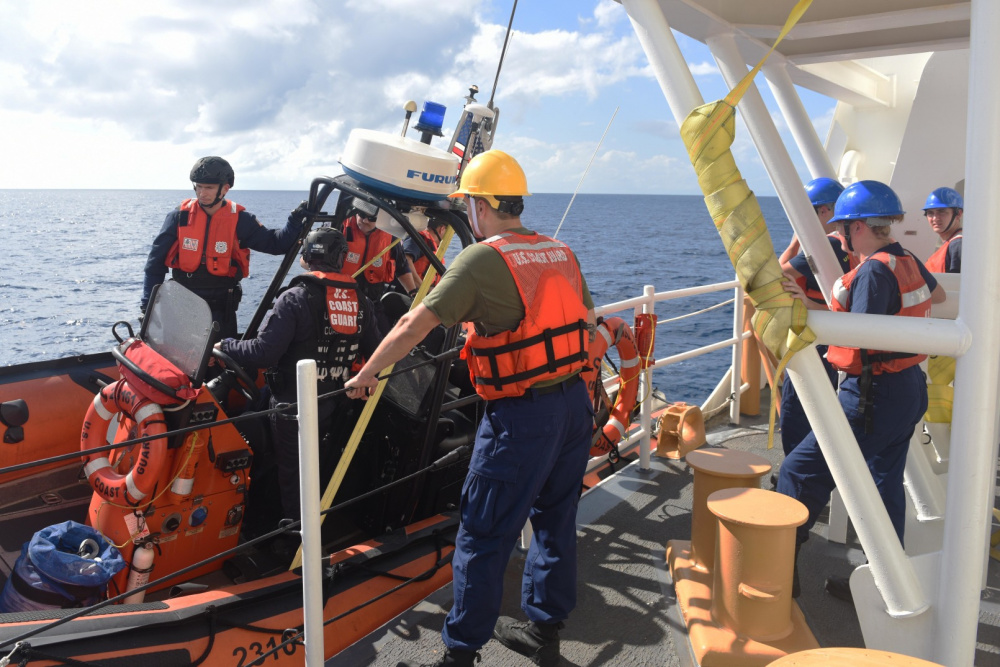 Stone's crew launches one of the cutter's small boats to assist in the interdiction (USCG)