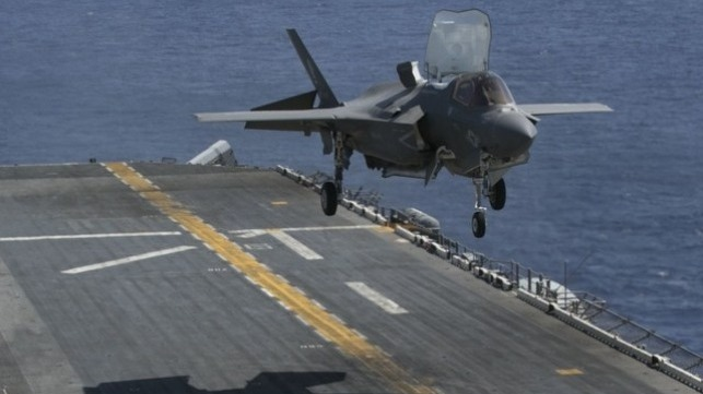 An F-35B Lightning II prepares to land on the flight deck of the USS Wasp while underway in the Philippine Sea, March 23, 2018. (U.S. Marine Corps photo by Lance Cpl. Amy Phan)