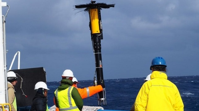 Scientists deploying a vertical microstructure profiler which measures temperature, salinity, pressure and turbulence, from RV Investigator in the Antarctic Circumpolar Current, November 2018. Nathan Bindoff