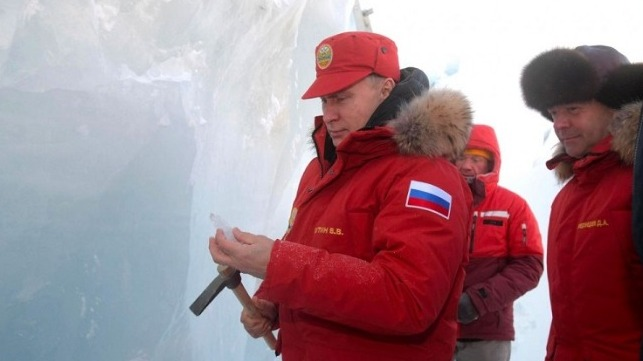 President Vladimir Putin photographed last year at one of Russia's Arctic outposts. Credit: Kremlin Photo