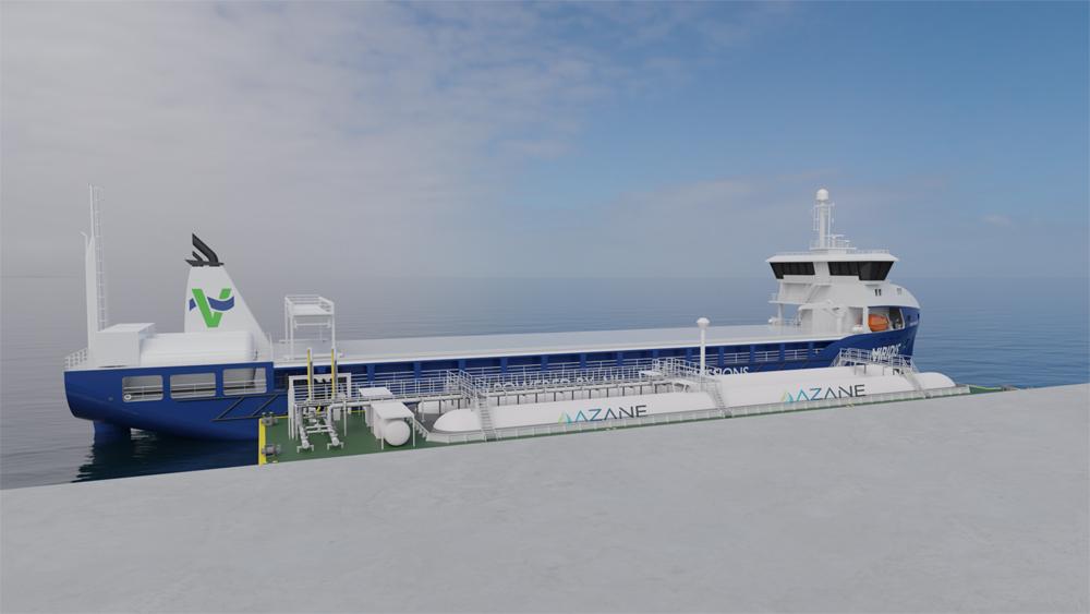 ammonia bunkering barge based with ship Azane