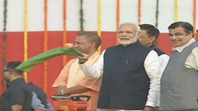 India's Prime Minister Narendra Modi inaugurates Multi-Modal Terminal in Varanasi.