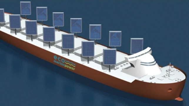 eco ships that uses wind and solar power