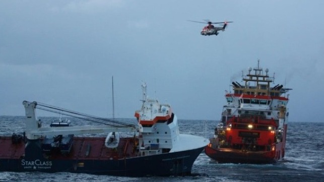 emergency effort secures tow line to drifting vessel