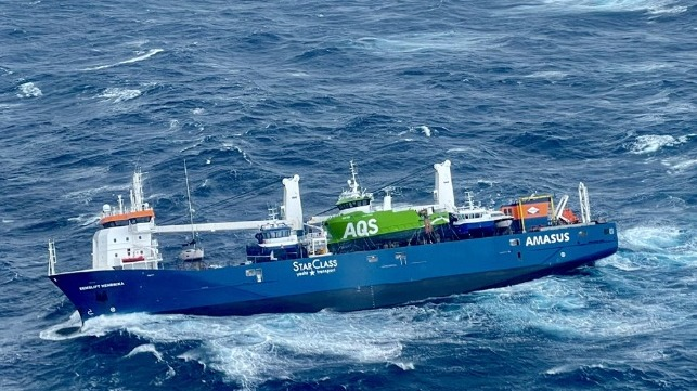 listing Dutch cargo ship abandon in storm off Norway