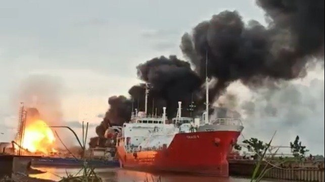 fire and explosion at Indonesia shipyard
