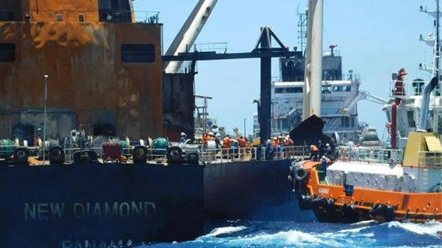 salvage teams boarded the burnt out tanker New Diamond off Sri Lanka