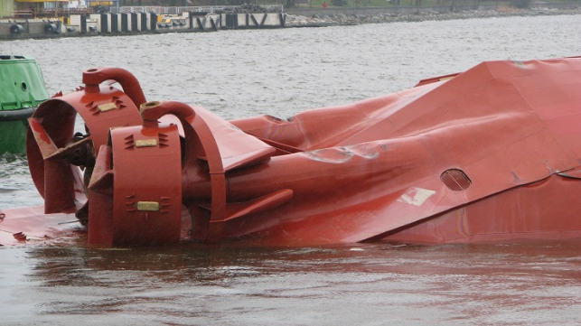 Photo: Lithuanian Transport Safety Administration - Capsized tug Barta