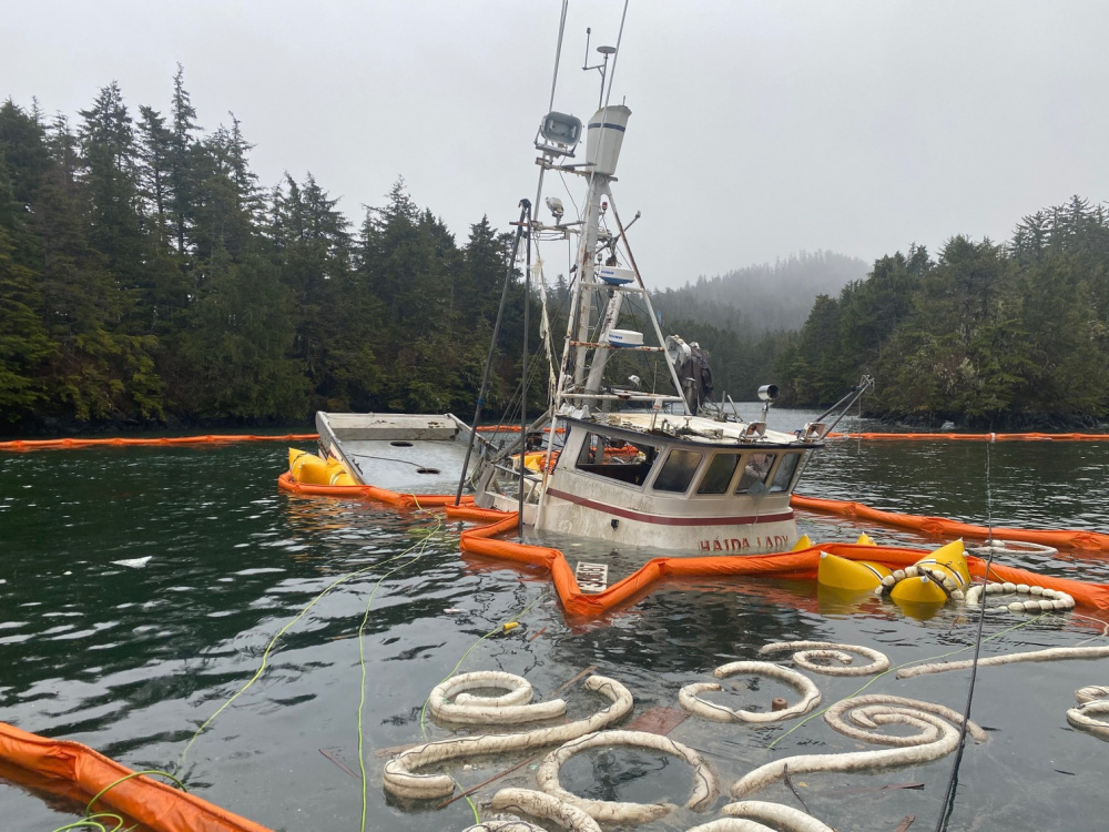 Photos: Fuel Cleanup Under Way After Fishing Vessel Sinks Off Sitka