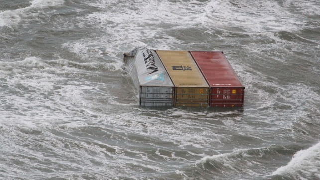 survey finds the number of containers lost overboard declining and outlines initiatives to improve shipping safety