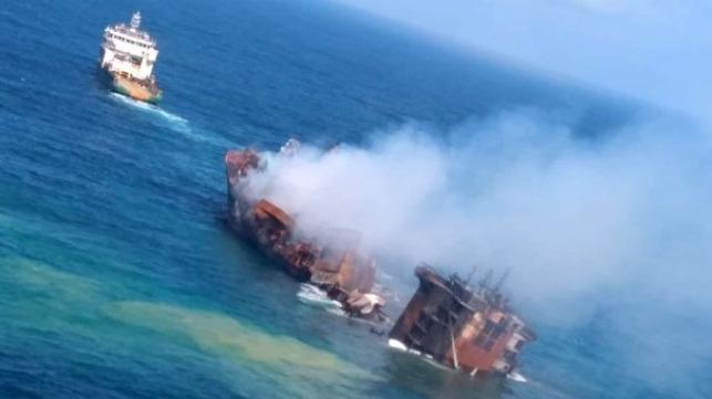 containership sinking off Sri Lanka