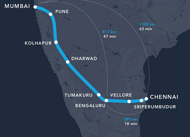 the challenge also saw a proposal for a mumbai chennai corridor proposed by hyperloop india a consortium of student volunteers from top engineering and